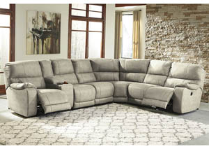 Bohannon Putty Left Facing Sectional w/Armless Chair and Right Facing Power Reclining Loveseat