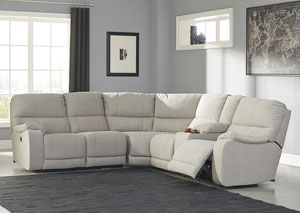 Bohannon Putty Left Facing Sectional w/Right Facing Power Reclining Loveseat