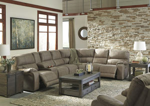 Bohannon Taupe Left Facing Sectional w/Right Facing Power Reclining Console Loveseat and Rocker Recliner
