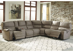 Bohannon Taupe Left Facing Sectional w/Right Facing Power Reclining Loveseat