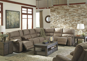 Bohannon Taupe Left Facing Sectional w/ Right Facing Power Reclining Loveseat and Rocker Recliner
