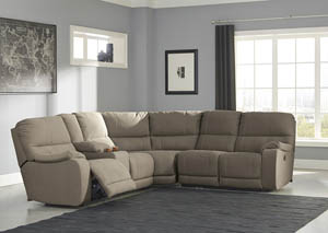 Bohannon Taupe Left Facing Double Power Reclining Loveseat Sectional w/Console