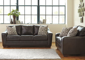 Coppell DuraBlend Chocolate Sofa and Loveseat