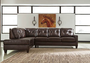 O'Kean Mahogany Left Facing Corner Chaise Sectional