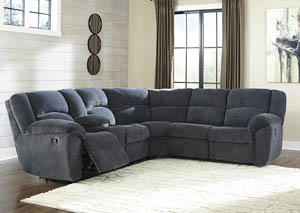 Timpson Indigo Left Facing Double Reclining Loveseat Sectional