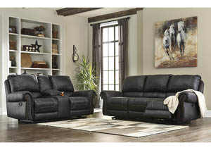 Milhaven Black Power Reclining Sofa and Loveseat w/Console