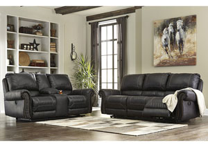 Milhaven Black Reclining Sofa and Loveseat w/Console