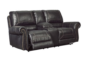 Milhaven Black Double Recliner Loveseat w/Console