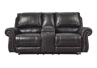 Milhaven Black Double Power Reclining Loveseat w/Console