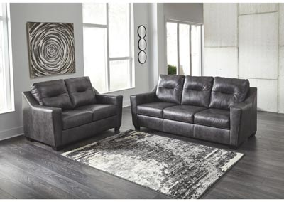 Kensbridge Charcoal Sofa and Loveseat