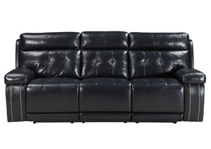 Graford Navy Power Reclining Sofa w/Adjustable Headrest