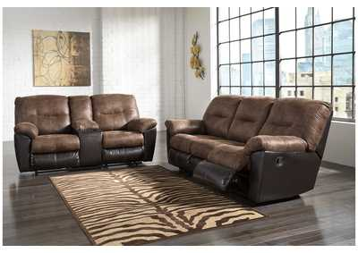 Follett Coffee Reclining Sofa and Loveseat w/Console