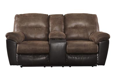 Follett Coffee Double Reclining Loveseat w/Console,Signature Design by Ashley