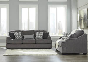 Gilmer Gunmetal Sofa and Loveseat
