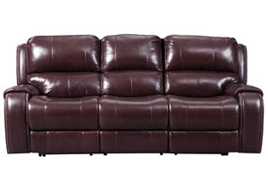 Gilmanton Burgundy Power Reclining Sofa w/Adjustable Headrest