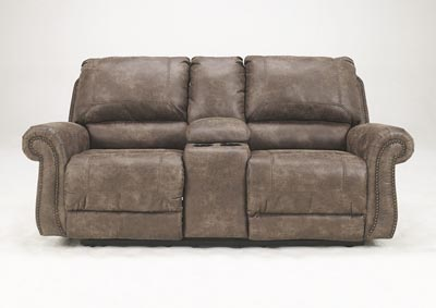 Oberson Gunsmoke Double Reclining Loveseat w/ Console