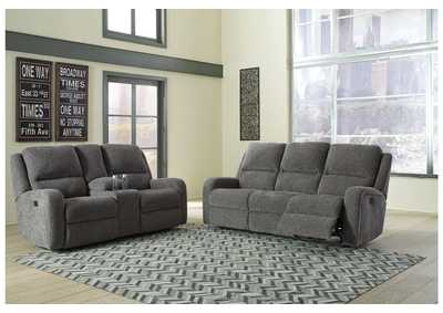 Krismen Charcoal Power Reclining Sofa and Loveseat w/Adjustable Headrest