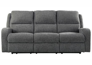 Krismen Charcoal Power Reclining Sofa w/Adjustable Headrest,Signature Design by Ashley