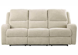 Krismen Sand Power Reclining Sofa w/Adjustable Headrest