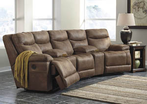 Valto Saddle Left Facing Sectional w/2 Storage Consoles and Right Facing Zero Wall Power Recliner