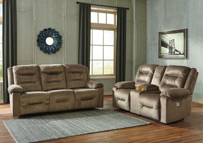 Waldheim Mocha Power Reclining Sofa & Loveseat w/Console w/ADJ Headrest