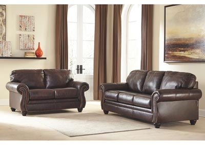 Bristan Walnut Sofa and Loveseat,Signature Design by Ashley