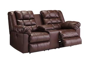 Brolayne DuraBlend Saddle Double Reclining Loveseat