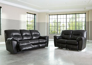 Kilzer DuraBlend Black Reclining Sofa and Loveseat