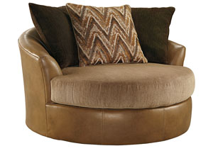 Declain Sand Oversized Swivel Accent Chair