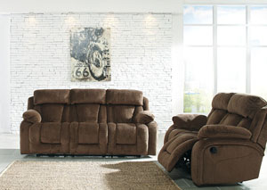 Stricklin Chocolate Reclining Sofa and Loveseat