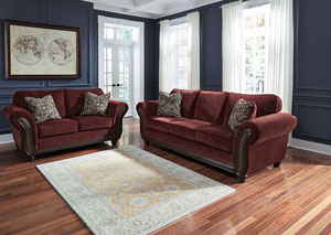 Chesterbrook Burgundy Sofa and Loveseat