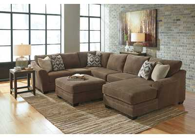 Justyna Teak Sectional w/Right Facing Corner Chaise and Ottoman