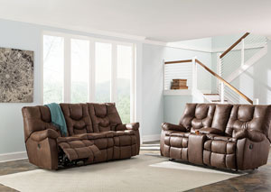 Burgett Espresso Reclining Sofa and Glider Loveseat w/Console
