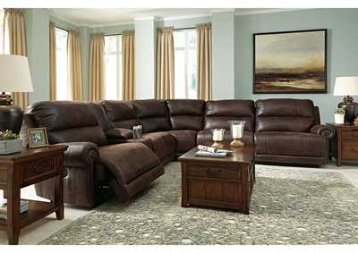 Luttrell Espresso Zero Wall Power Reclining Sectional w/Storage Console,Signature Design By Ashley