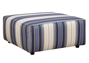Ayanna Nuvella Blue Oversized Accent Ottoman