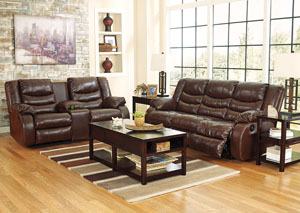 Linebacker DuraBlend Espresso Reclining Sofa & Loveseat,Signature Design by Ashley