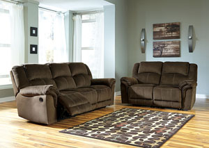 Quinnlyn Coffee Reclining Sofa and Loveseat