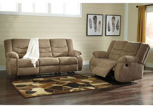 Tulen Mocha Reclining Sofa and Loveseat
