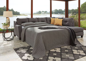 Kirwin Nuvella Gray Left Facing Queen Sleeper Sectional