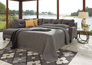 Kirwin Nuvella Gray Right Facing Queen Sleeper Sectional