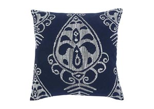 Embroidered Navy Pillow (4/CS)