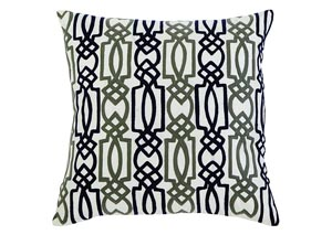 Embroidered Navy Pillow