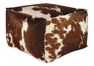Tegan Dark Brown/White/Black Pouf