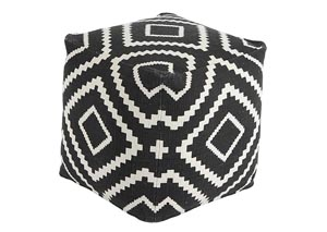 Geometric Black Pouf,Signature Design by Ashley