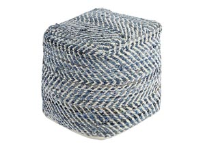 Chevron Blue Pouf,Signature Design By Ashley