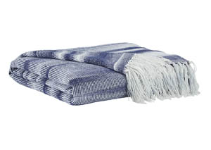Agustin White/Blue Throw (Set of 3)