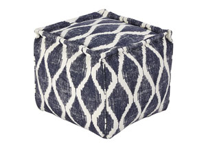 Bruce Ink/White Pouf,Signature Design by Ashley