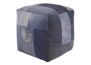 Aaden Blue Pouf,Signature Design by Ashley