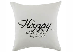 Happy White Pillow