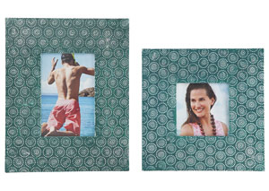 Bansi Teal Photo Frame (Set of 2) (2/CS)